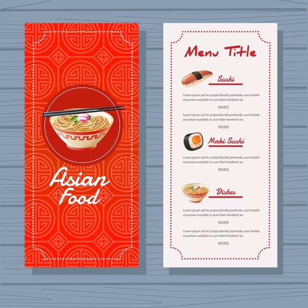 menu food blue background Asian
