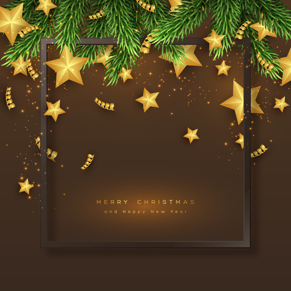 tree stars golden fir christmas card brown