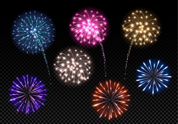 transparent Fireworks festival colored