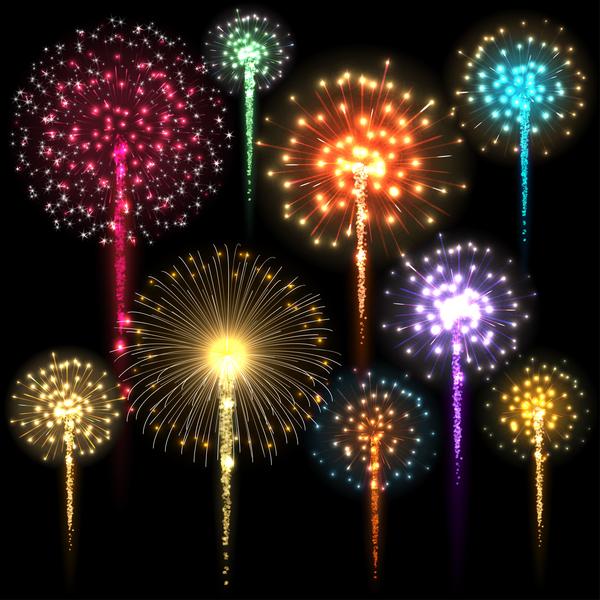 Fireworks festival colored black