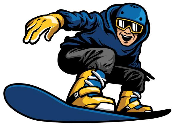 snowboard playing man happy
