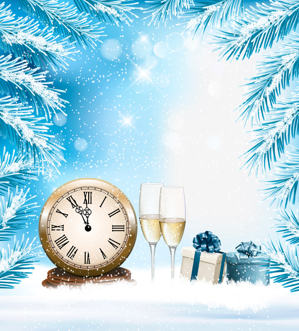 holiday clock christmas champange