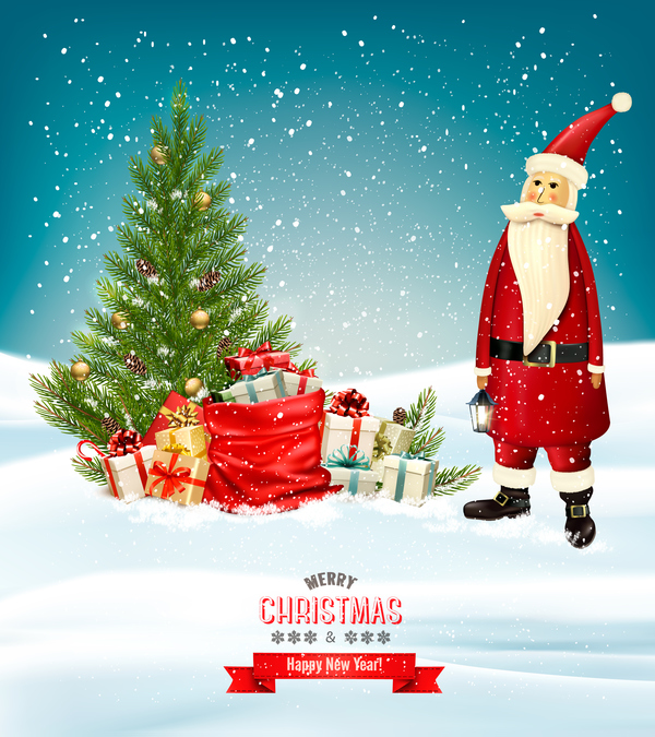 santa presents merry colorful christmas banner