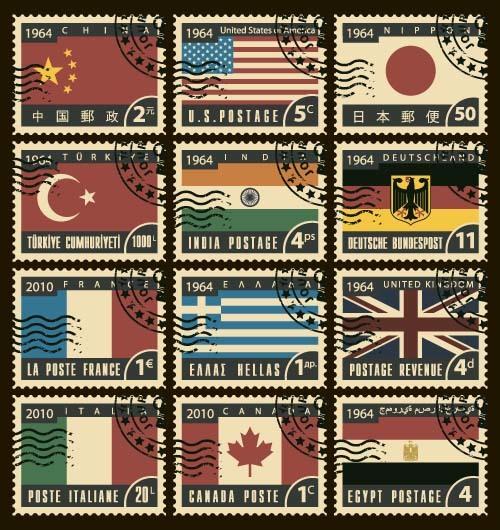 stamps postage national flag