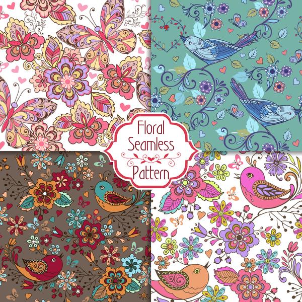 set seamless Patterns flowers colorful butterflies birds