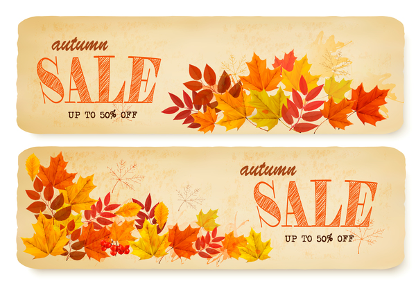 two sale leaves banners autumn
