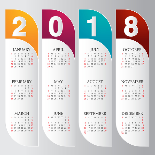 vertical calendar 2018 card vector   WeLoveSoLo