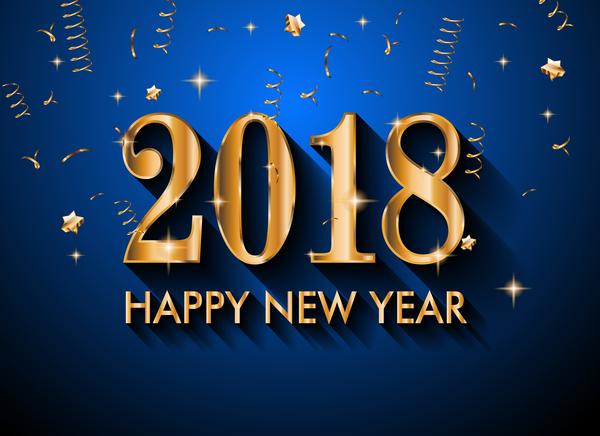 Neu Jahr gold blau 2018