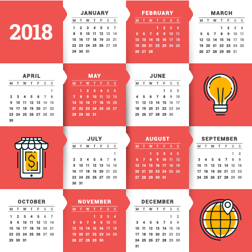 Calendario Business.Vettori Di 2018 Affari Calendario Modello 14 Welovesolo