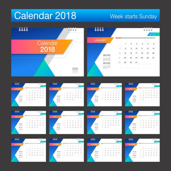calendario blu bianco 2018