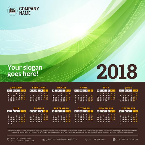 vert calendar Abstrait 2018