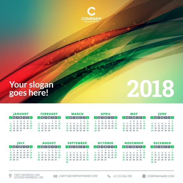 verde calendar astratto 2018