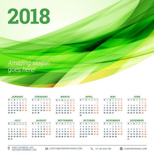 Kalender grün Abstrakt 2018