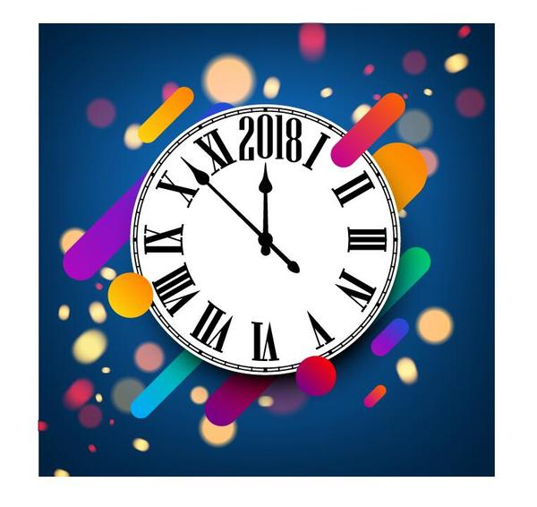 Uhr Neu Jahr blau 2018
