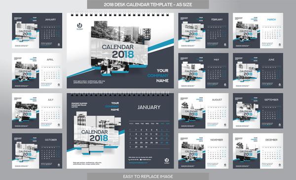、2018 年カレンダー、デスク