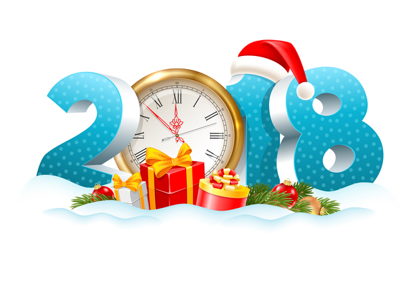 Ziffern Uhr Neu Jahr 2018
