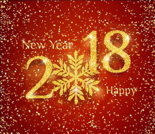 、2018、紙吹雪、ゴールデン、新しい年
