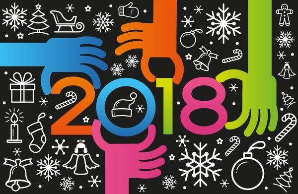 、2018 年に手を、新しい年