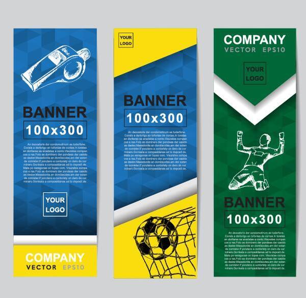 、バナー、サッカー、垂直