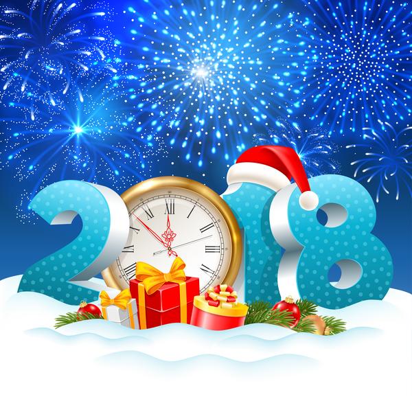 Weihnachten Uhr blau 2018
