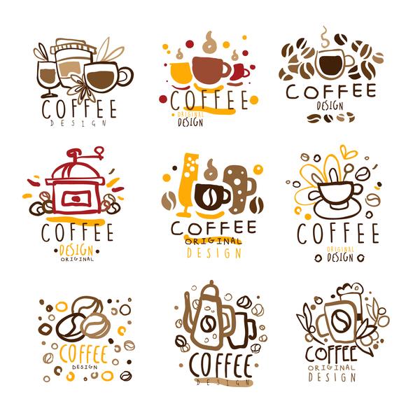 logos kaffee hand gezeichnet