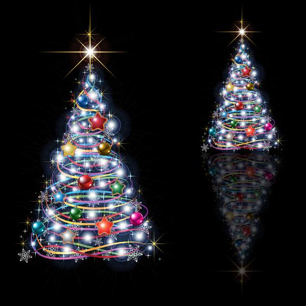 träd Svart jul isolerad Abstrakt