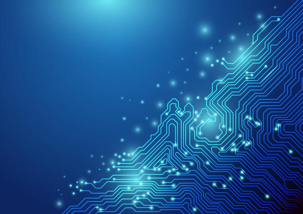 tecnologia linee concetto chipset blu astratto