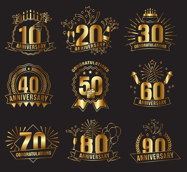 Gyllene etiketter Årsdagen