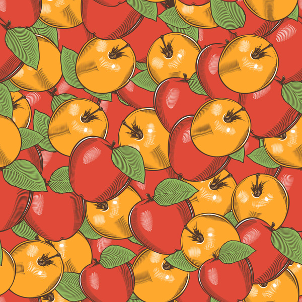 seamless hand drawn apple