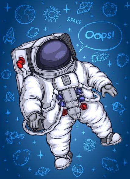 objets espace dessin animé astronaute