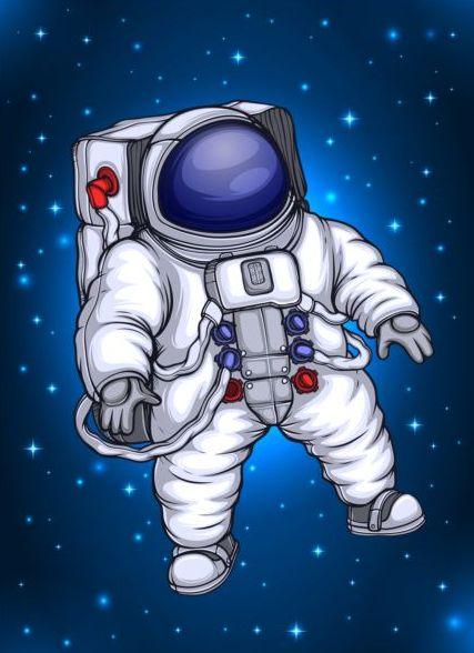 Astronauta nello spazio vettoriale dei cartoni animati welovesolo