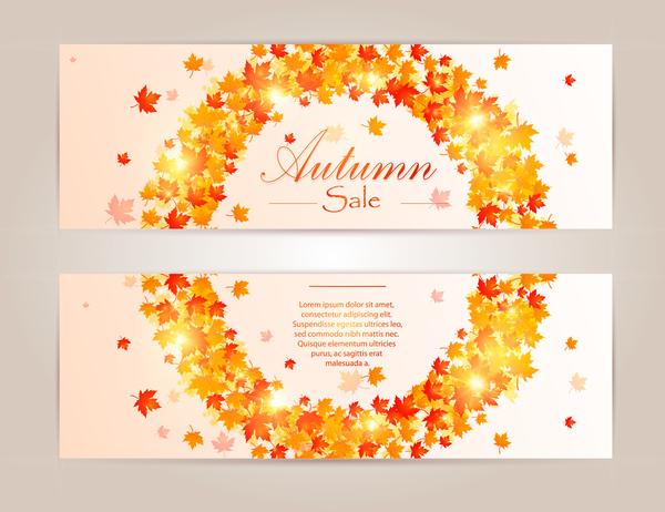 rossi foglie banner autunno