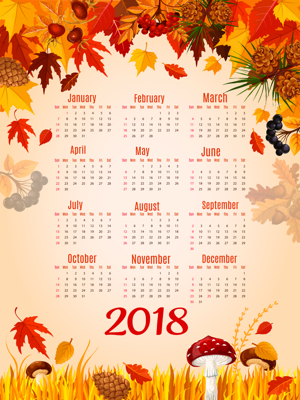 styles calendrier automne 2018