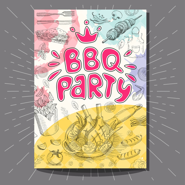 party hand gezeichnet flyer BBO