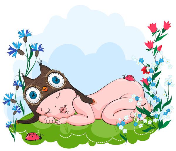 草 帽子、フクロウ、眠る、甘く 、赤ちゃん