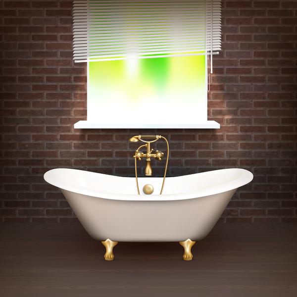 realistiskt interior badrum