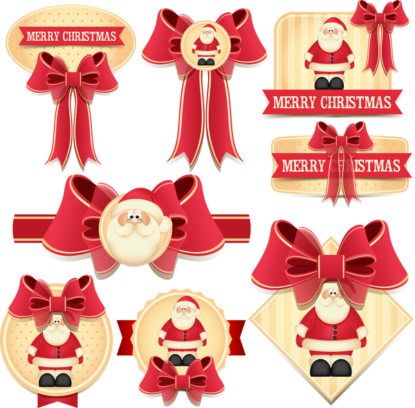 Noel étiquettes Belle arc