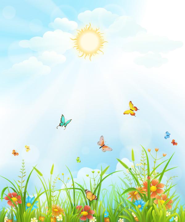 printemps Papillons fleurs Belle