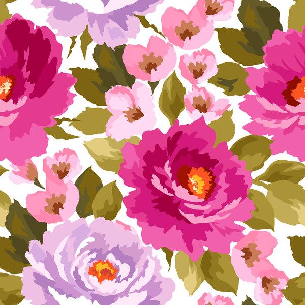 、美しい、花、パターン、シームレス、Watecolor