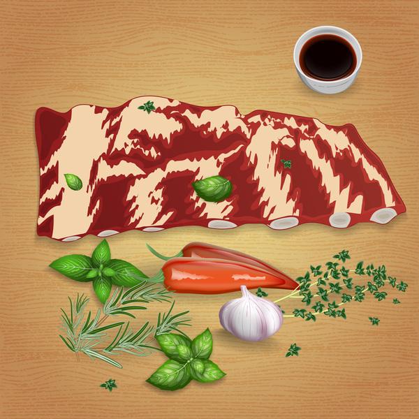 såser rib nötkött kryddor kotletter