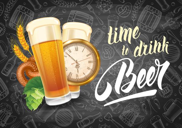 Zeit trinken blackboard Bier