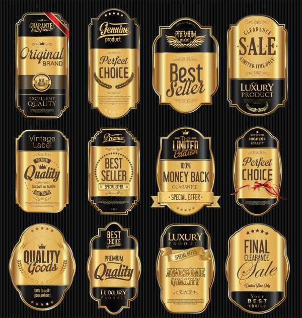 Svart lyx golden etiketter
