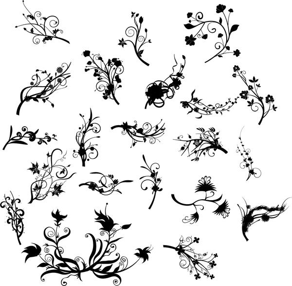 ornamenti floreali Nero