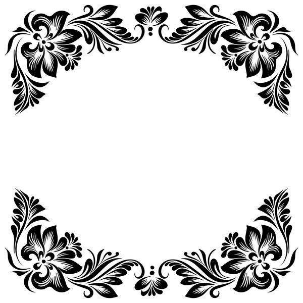 Un cadre noir fleur décoratif