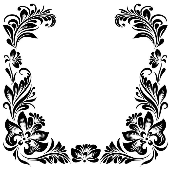 Schwarz Rahmen dekorative Blume