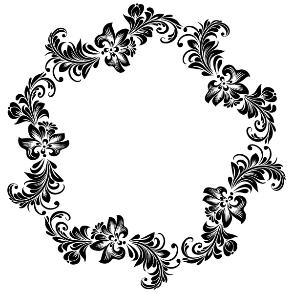 装飾 花 フレーム ブラック