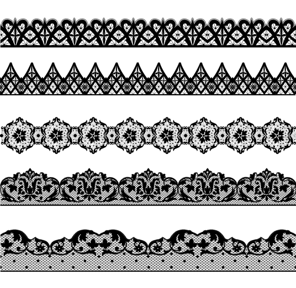 seamless lace borders black