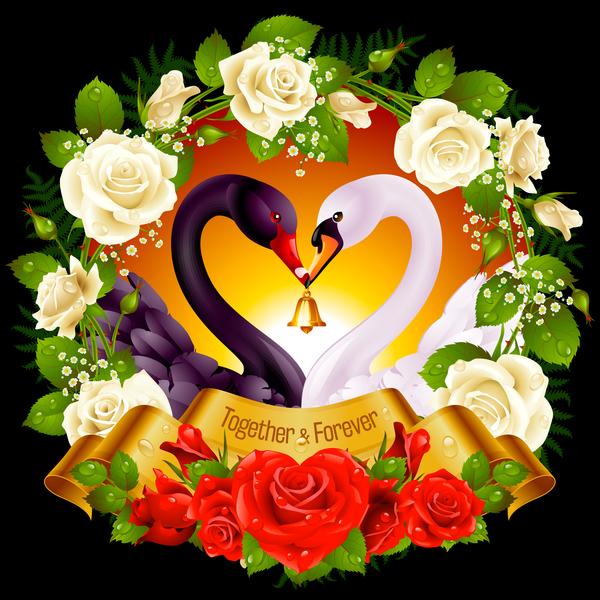 Nero Fiore cornice cigno bianco
