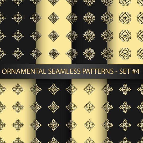 Schwarz ornament nahtlose Muster golden
