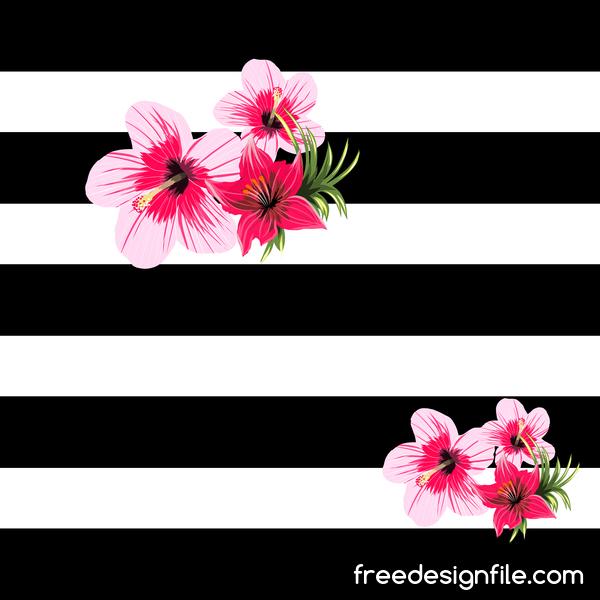 、黒、花、熱帯、白い
